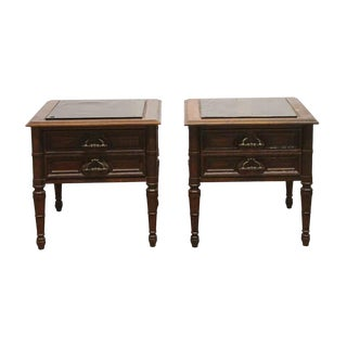 Late 20th Century Oak & Glass Night Stands-a Pair For Sale
