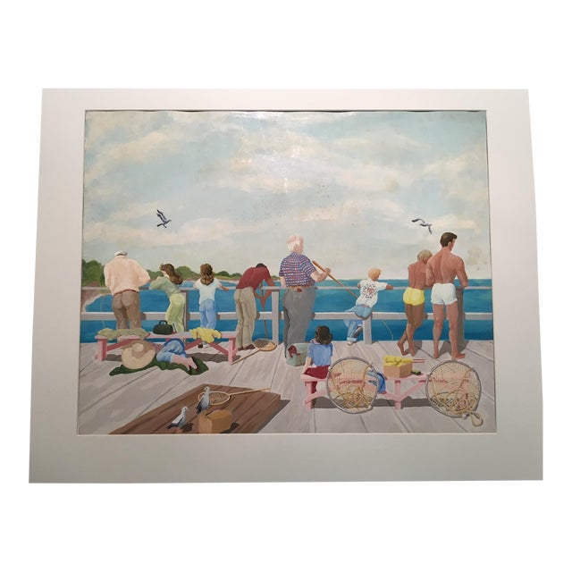 "Mid-Century Mary M. Kennedy ""Muscle Beach"" Painting - Image 1 of 8"