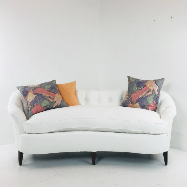 Hollywood Regency White Tufted Curved Regency Petite Sofa For Sale - Image 3 of 7