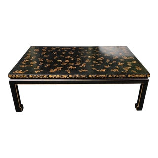 Black Lacquer Chinoiserie Decorated Designer Coffee Table W Crackle Finish For Sale