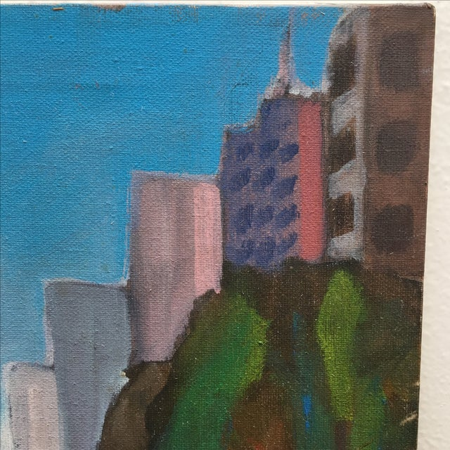 Vintage Painting of a Cityscape, Urban Highrise - Image 6 of 11