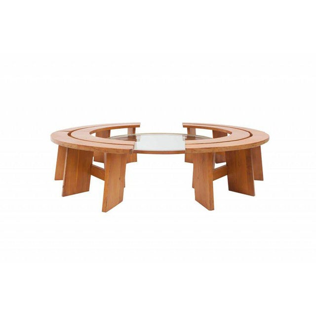 Set of four curved benches. Made of solid elmwood. These benches are another great example of the quality and...