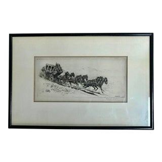 "Early 20th Century Antique Edward Borein ""The Overland Mail"" Drawing For Sale"