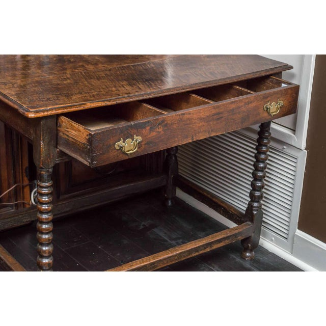 1780s English Single Drawer and Bobbin Turned Legs Oak Side Table For Sale - Image 4 of 9
