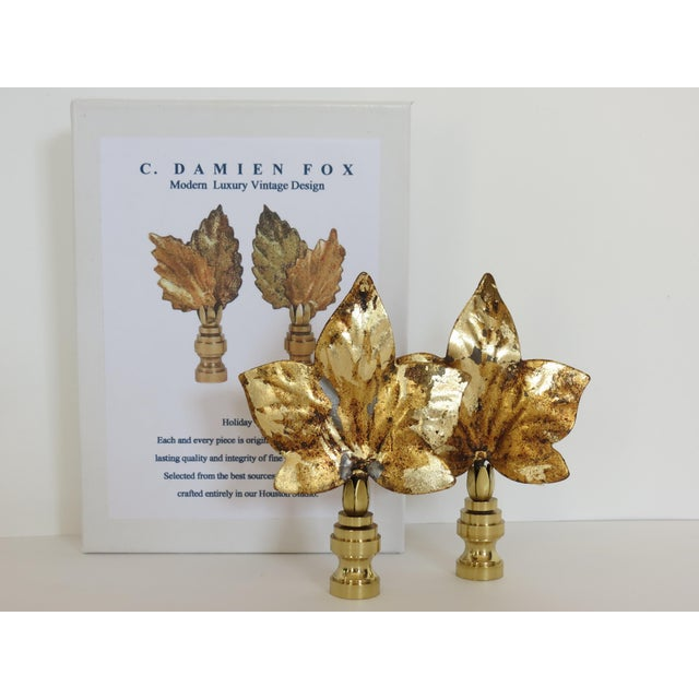 Original patina gold leaf finish on these medium size stunningly original finials created from vintage Italian Tole. A...