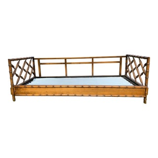 1970s Boho Chic Rollout Faux Bamboo Twin Trundle Bedframe For Sale