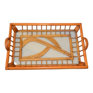 1940s Boho Chic Handcrafted Bamboo Wood & Glass Table Tray For Sale