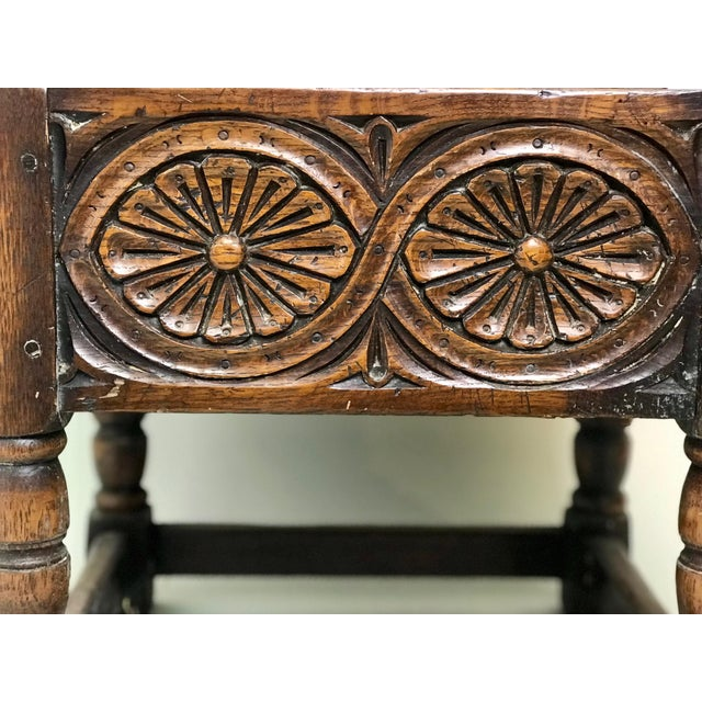 Mid 19th Century 19th Century Traditional Oak Joint Stool/ Bible Box For Sale - Image 5 of 8