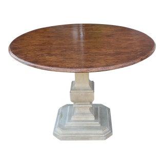 """Fine Custom Dennis & Leen Furniture Walnut Balustrade Based 42"""" Round Pedestal Table For Sale"""
