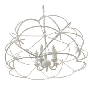 White Minimal Currey and Company Ralston Chandelier For Sale