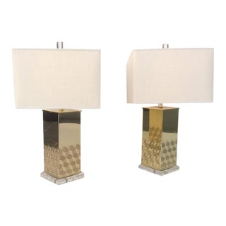 Polished Brass and Acrylic Table Lamps For Sale