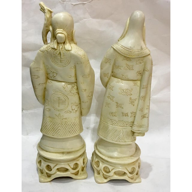 Resin Vintage Chinese Old Scholars Figures - a Pair For Sale - Image 7 of 13