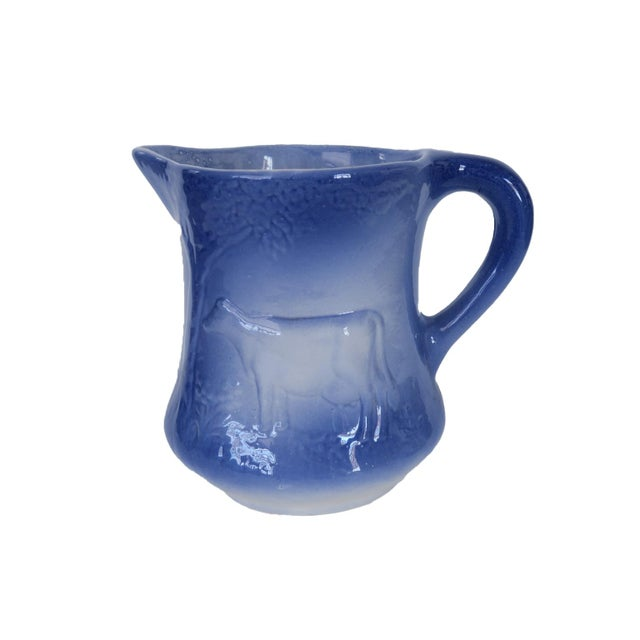 Late 20th Century Antique Cow Blue and White Ironstone Pitcher For Sale - Image 5 of 5