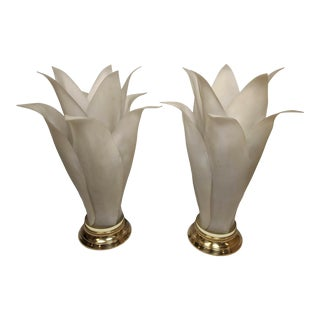 Brass and Frosted Plastic Flower Form Table Lamps - a Pair For Sale
