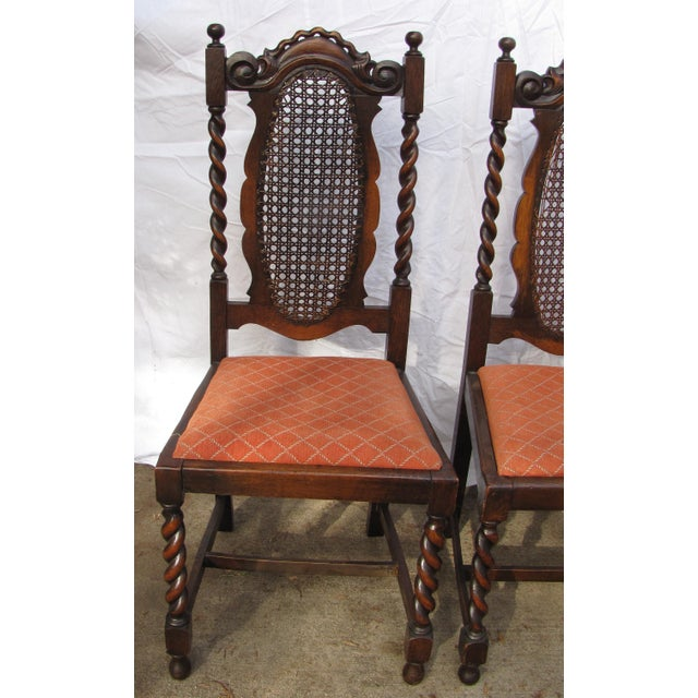 Exquisite Antique English Oak Barley Twist Chairs with Caned Backs. The  Backs are intricately hand - Antique Barley Twist & Caned English Oak Dining Chairs - Set Of 6