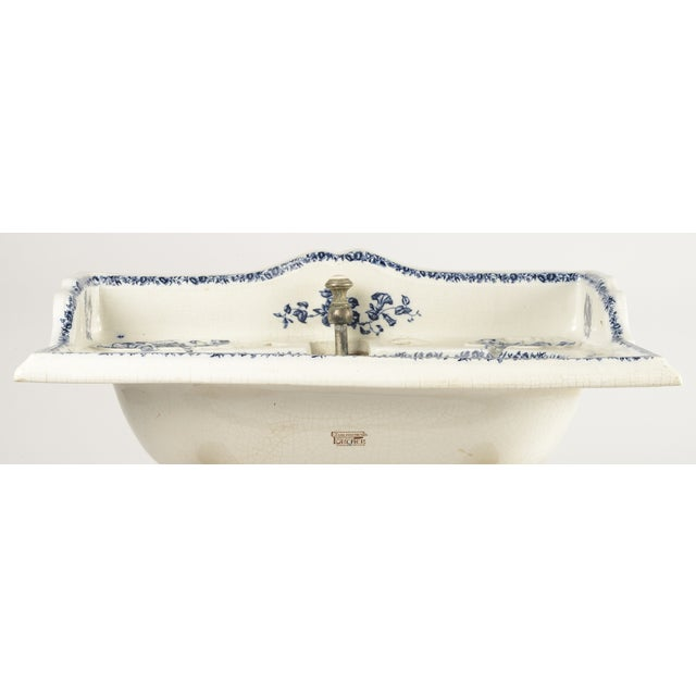 French Porcelain Sink Basin With Blue Floral Pattern For Sale - Image 3 of 8