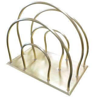 Art Deco Moderne Magazine Solid Brass Rack For Sale