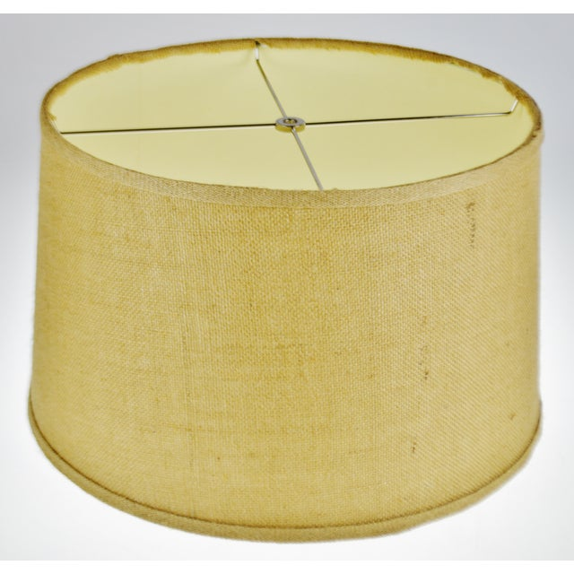Traditional Vintage Grass Cloth Drum lampshade For Sale - Image 3 of 13