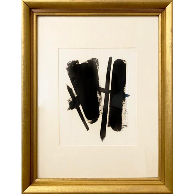 Contemporary Mid-Century Inspired Black and White Acrylic Painting, Framed For Sale