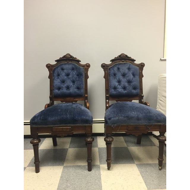 Antique Eastlake Victorian Parlor Chairs - A Pair - Image 9 of 9