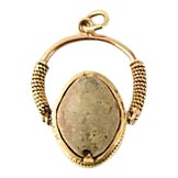 Antique Victorian Agate Scarab 18k Gold Fob / Pendant/ Charm For Sale