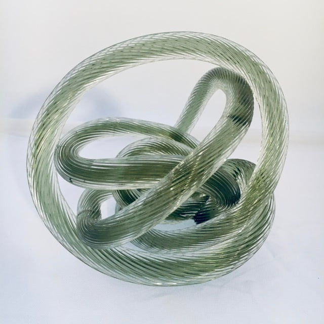 Glass Zanetti Style Italian Sage Green Murano Glass Knot For Sale - Image 7 of 7
