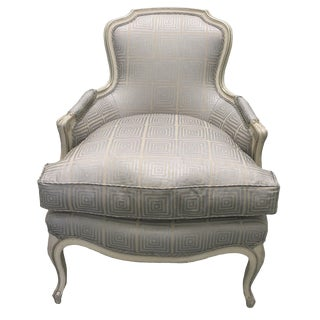 Newly Upholstered Louis XV Style Silver Painted Bergere Chair For Sale
