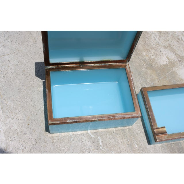 Gold Early 20th Century French Tiffany Blue Opaline Glass Box and Ashtray Set For Sale - Image 8 of 13