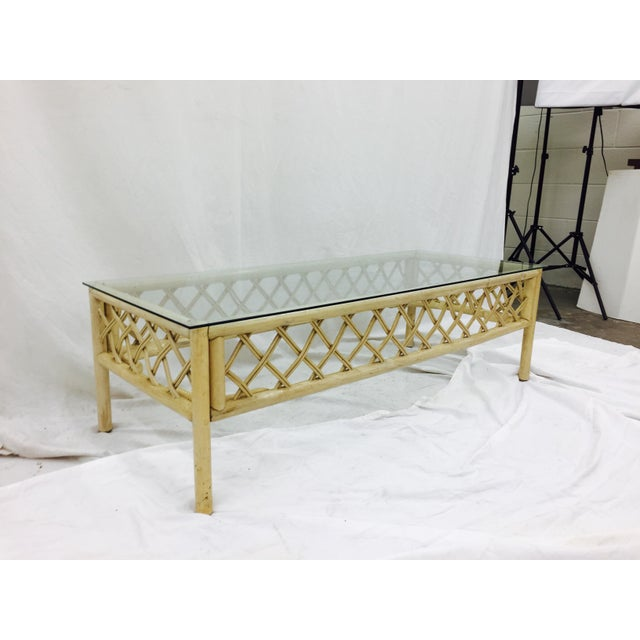 Ficks Reed Vintage Ficks Reed Rattan & Glass Coffee Table For Sale - Image 4 of 7