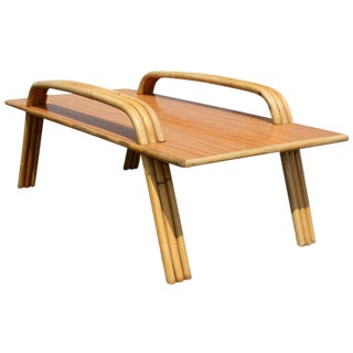 Paul Frankl Style Tropitan Bamboo Coffee Table For Sale