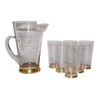 1980s Gold Rimmed Pitcher & Glasses - Set of 7 For Sale