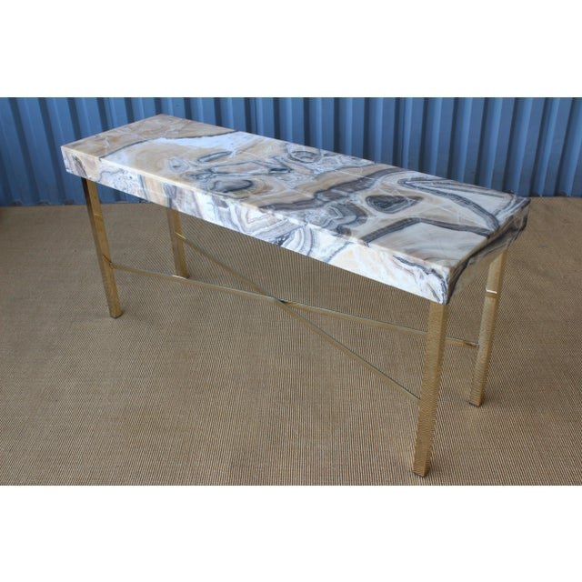 Modern Onyx Top Console Table With Brass Base For Sale - Image 3 of 11