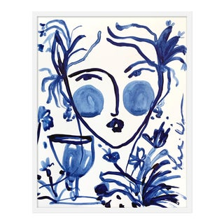 "Medium ""Flowers and Wine Indigo II"" Print by Leslie Weaver, 25"" X 32"" For Sale"
