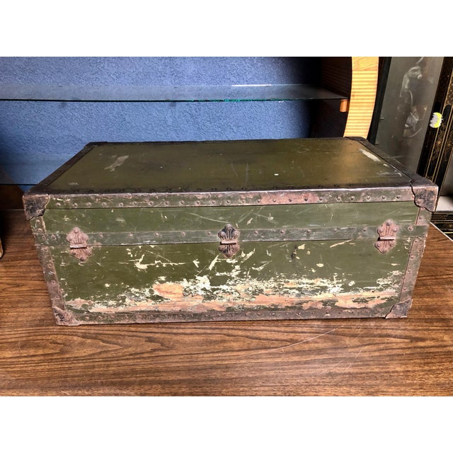 Vintage P & S Co. Military Footlocker With Contrasting Metal Hardware and Leather Handle For Sale - Image 4 of 12
