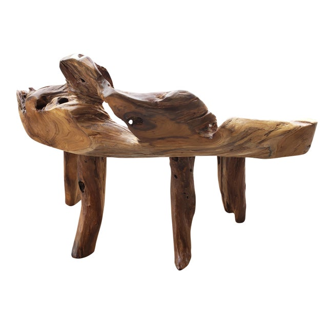 Organic Teak Root Bench For Sale - Image 4 of 6