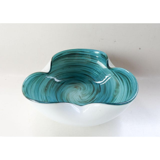 Mid 20th Century Blue & White Swirl Murano Glass Bowl For Sale - Image 5 of 9