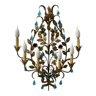 Mid-Century Italian and Murano Turquoise Tear Drop Gilt Six Light Sconce For Sale