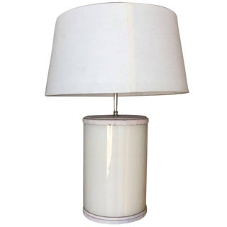 Paul Frankl Custom White Ceramic and Leather Table Lamp For Sale