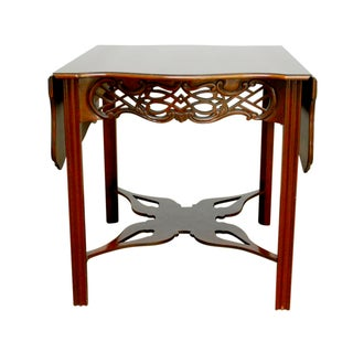 Chinese Chippendale Drop Leaf Table by Baker For Sale