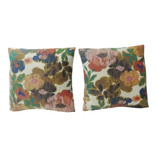 Vintage Pair of Modern Bright Floral Linen Decorative Pillows For Sale