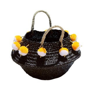 Pura Woven Beach Basket Bag - in Black, With Beads and Yellow / White Poms For Sale