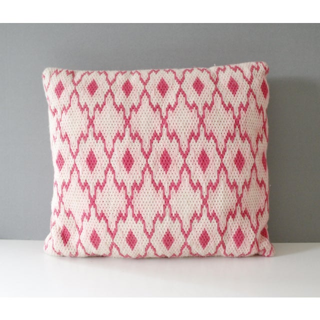 Boho Chic Vintage Pink Geometric Needlepoint Pillow Flame Stitch Mid Century For Sale - Image 3 of 3