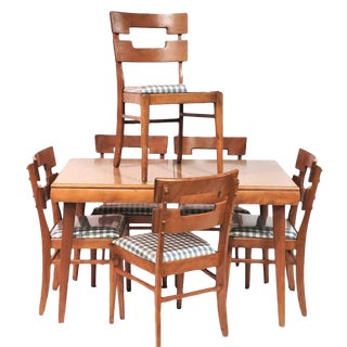 Vintage Mid-Century Heywood-Wakefield Extendible Dining Table Set- 7 Pieces For Sale