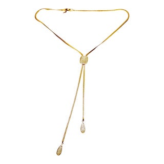 1970s Trifari Lariat Style Gilt Metal Chain Necklace For Sale