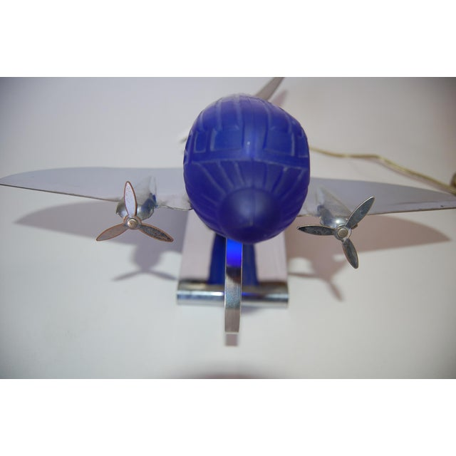 Metal Chrome Art Deco Style DC-3 Airplane Table Lamp With Cobalt Glass Shade, by Sarsaparilla For Sale - Image 7 of 9