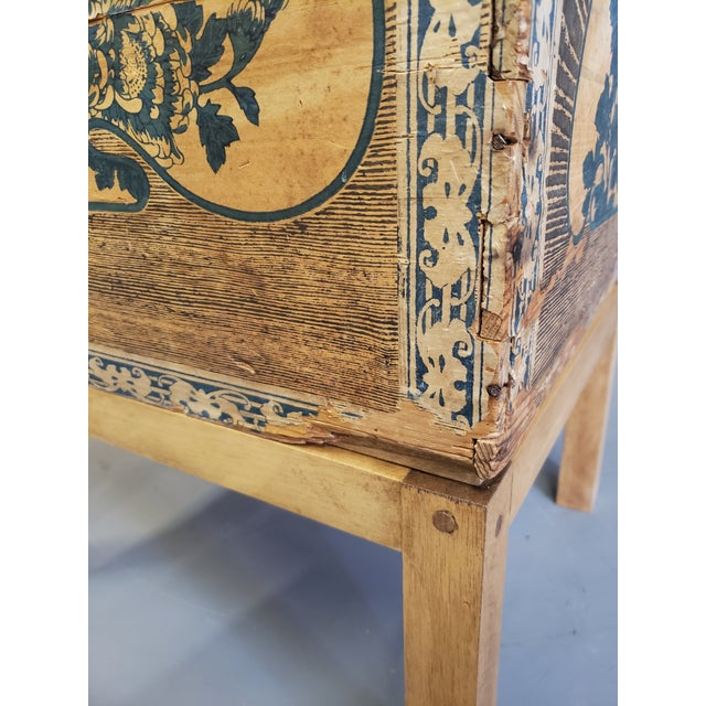 Antique Japanese Tea Crate on Stand Side Table For Sale - Image 10 of 13