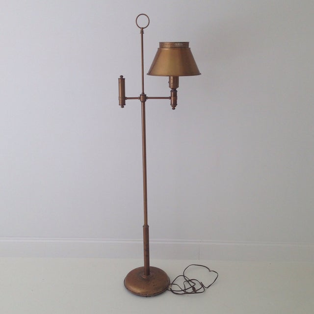 Brass colored tole floor lamp chairish this is a stunning tole floor lamp the lamp is made of metal with a aloadofball Choice Image