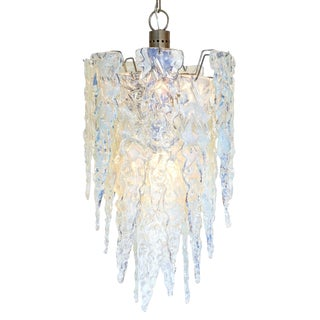 """Ghiacciolo"" Murano Glass Iridescent Chandelier For Sale"