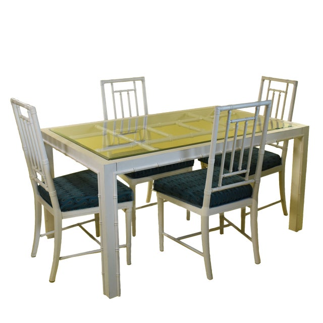 Hollywood Regency Faux Bamboo Dining Set - 5 Pieces For Sale - Image 9 of 9
