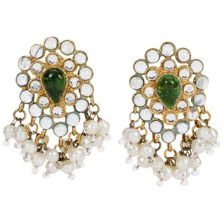 1970's Rare Chanel Indian Pearl Dangle Earrings For Sale